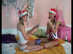 Young lesbians begin celebrating on be..