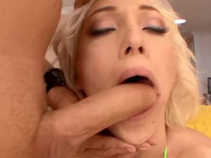 Pretty blonde cleans dick readily..
